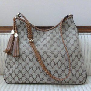 Gucci Monogram Canvas Marrakech Hobo Shoulder Bag
